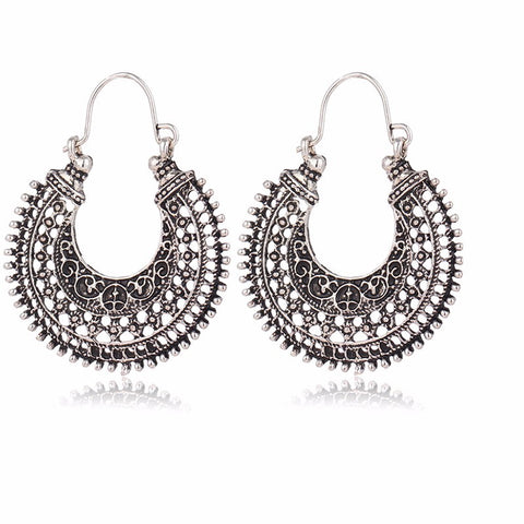 Hollow Out Tibetan Silver Color Hoop Earrings