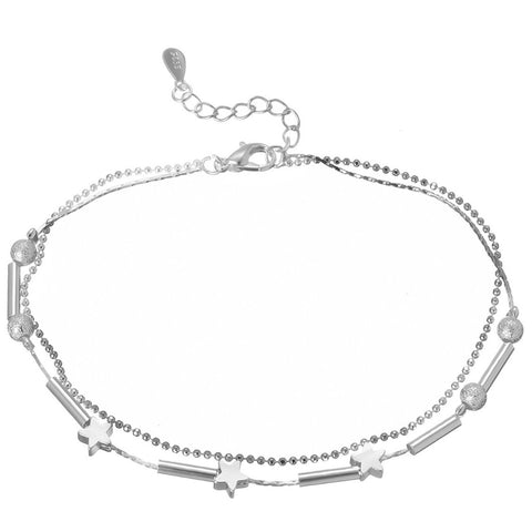 Star & Beads Layered Anklet