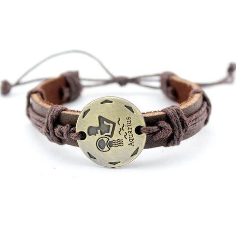 Zodiac Sign Constellation Leather Bracelet