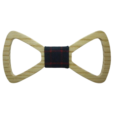 Red/Blue Checks Wooden Bowtie