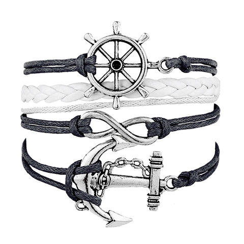 Rudder Anchor Infinity Multilayer Wristband
