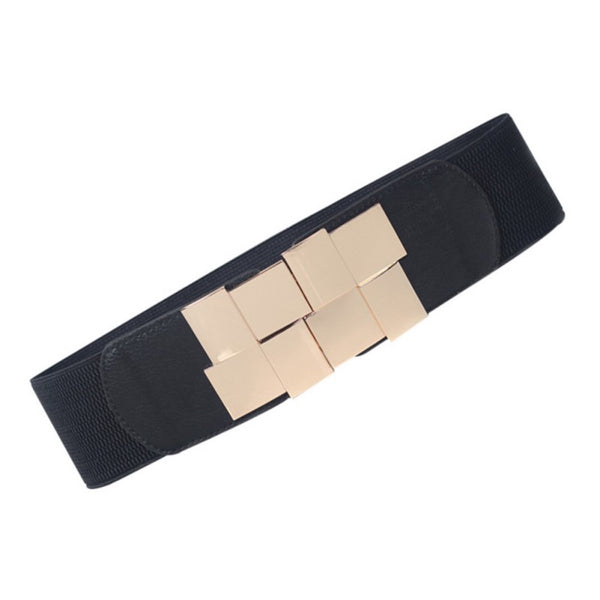 Overlapping Squares Metal Buckle Stretchable Belt