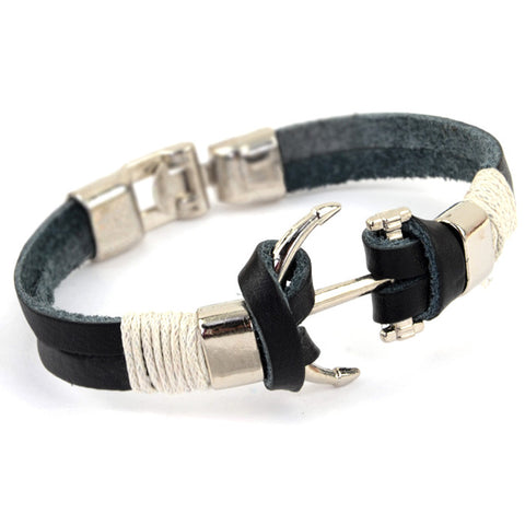Pirate Anchor Leather Bracelet