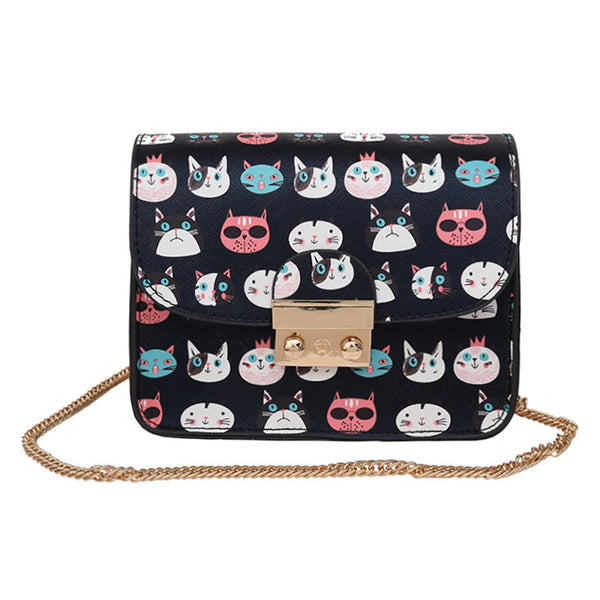 Cute Cat-Print Sling Bag