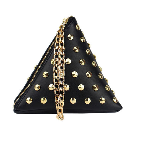 Golden Rivets Pyramid Sling Bag