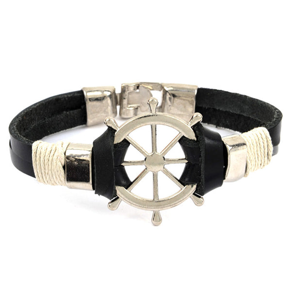 Pirate Wheel Leather Bracelet