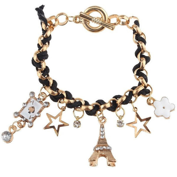 Eiffel Tower and Crystal Charms Bracelet