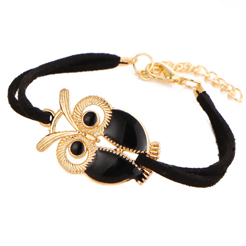 Owl Charm Leather Bracelet