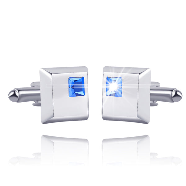Crystal Edged Square Cufflinks