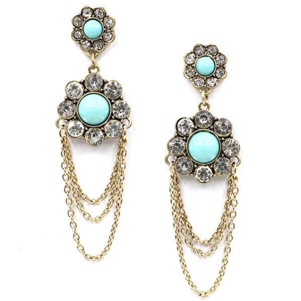 Hanging Chain Floral Earrings