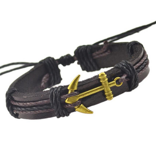 Metal Anchor Leather Bracelet