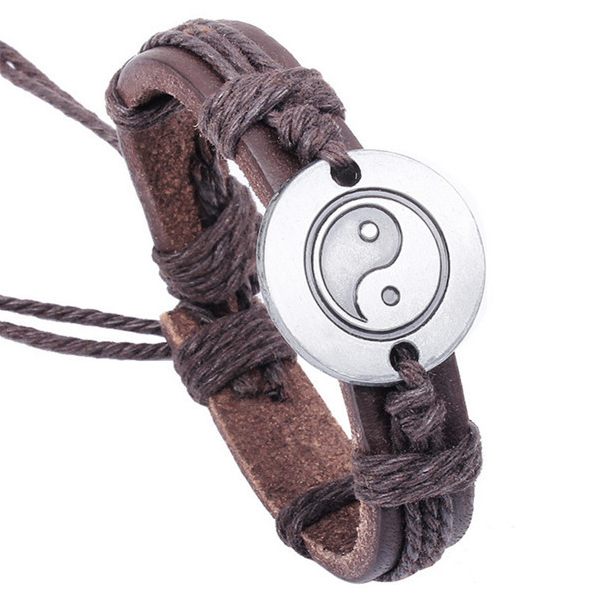 Yin and Yang Leather Bracelet
