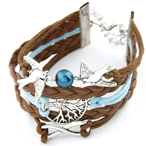 Multilayer Pigeon & Tree Rope Bracelet