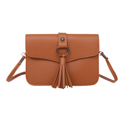 Tassel and Ring Leather Sling Bag