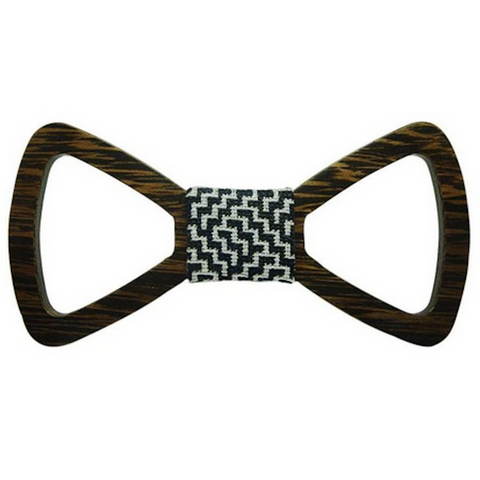 Black/White Maze Centered Wooden Bowtie