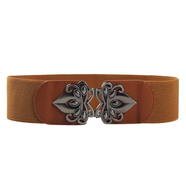 Inverted Flowers Metal Buckle Belt