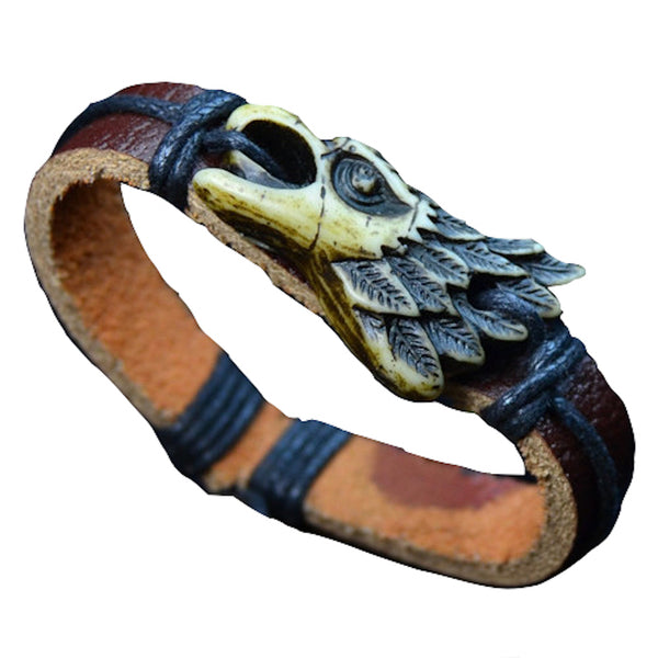 Eagle Face Leather Bracelet