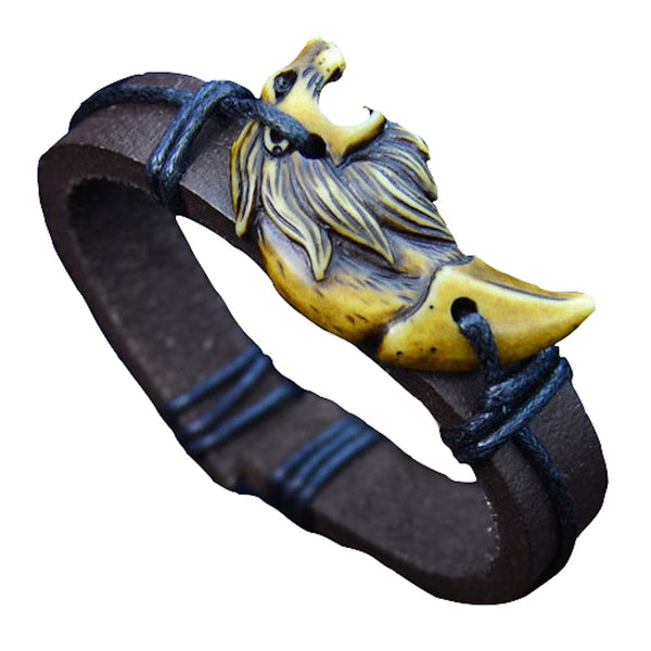 Lion Face Leather Bracelet