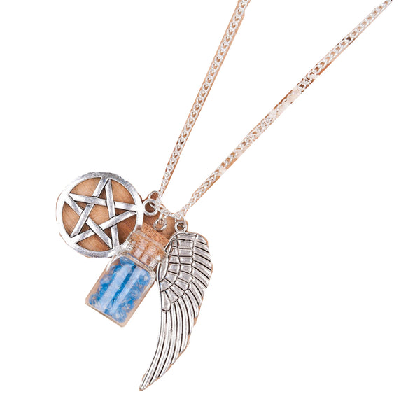 Angel Wings & Wishing Bottle Necklac
