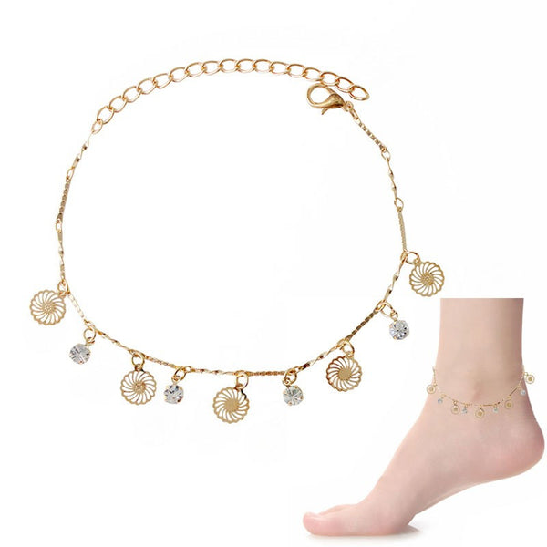 Crystal & Flower Dangle Charms Anklet