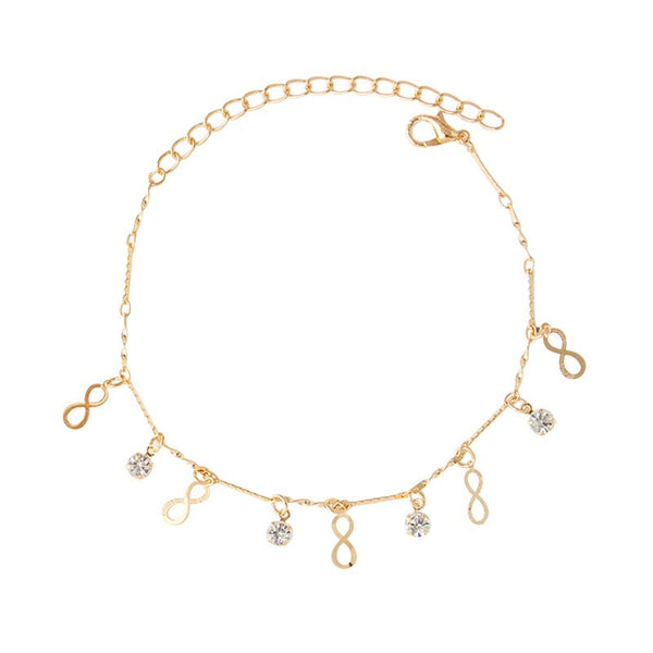 Crystal & Infinity Dangle Charms Anklet