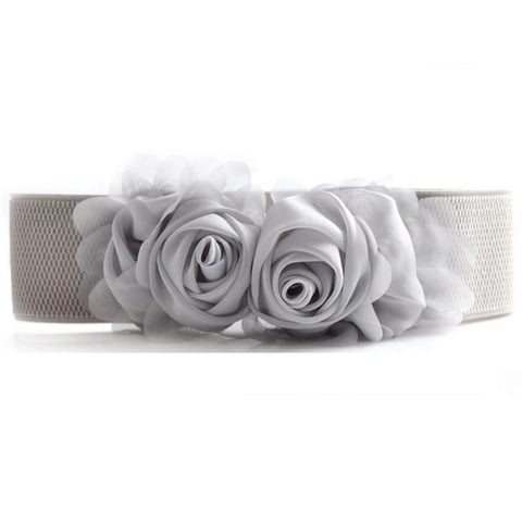 Double Rose Flower Elastic Waist Belt