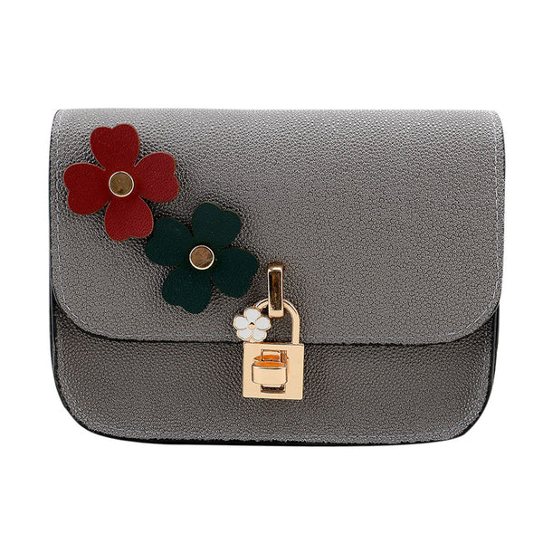 Flower and Golden Lock Shimmer Sling Bag