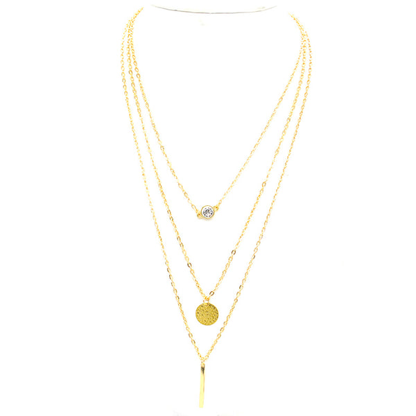 Layered Chain Bar Necklace