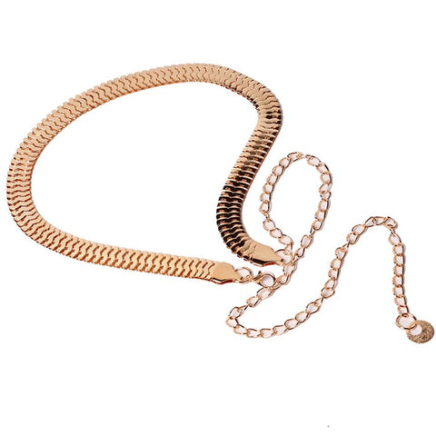 Fish Skin Pattern Metal Gold Chain Belt