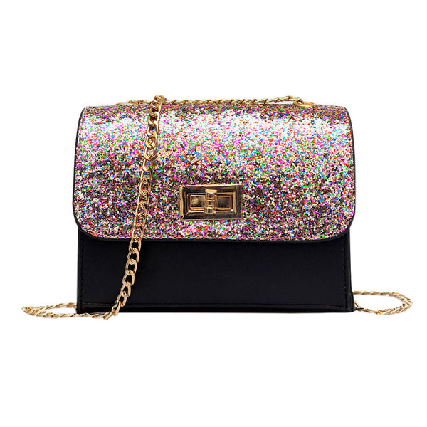 Twist Lock Sequined Glittery Party Purse