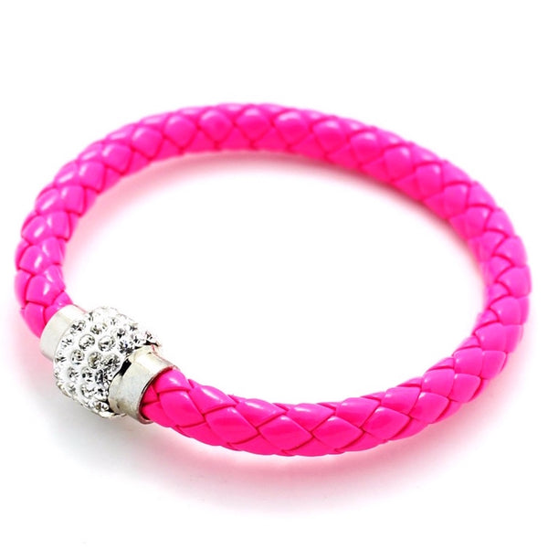 Rhinestone Screw-Buckle Leather Wristband