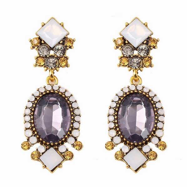 Oval Charm Drop Earrings