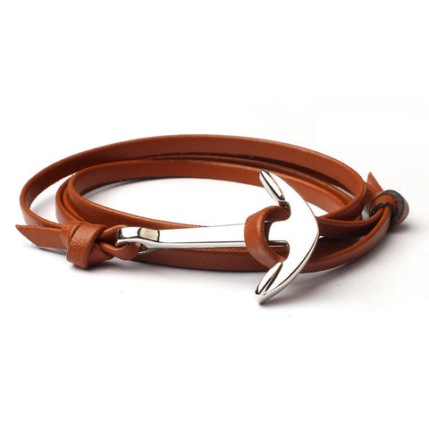 Metal Anchor Leather Wristband