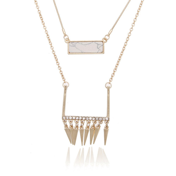 Double Layer Rivets Drop Necklace