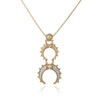 Double Horn Embellished Pendant Necklace