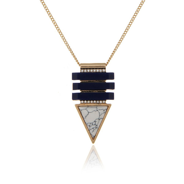 Crystal Geometric Triangle Drop Necklace