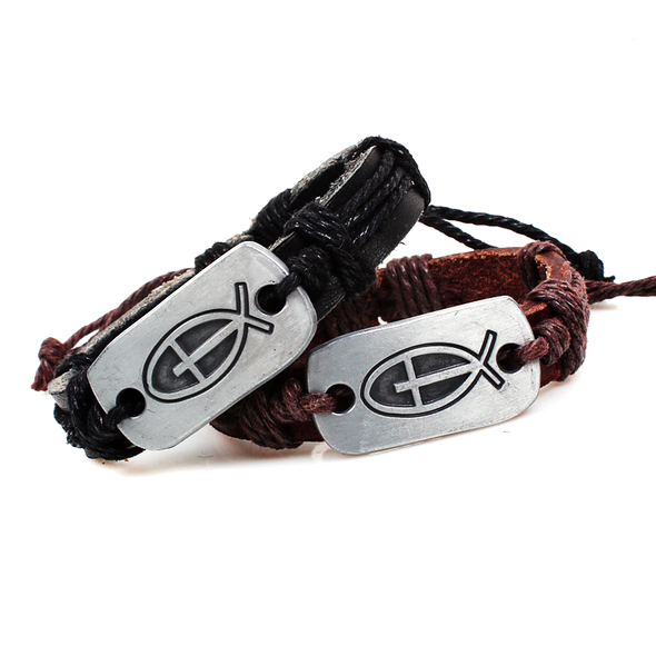 Cross Fish Leather Bracelet