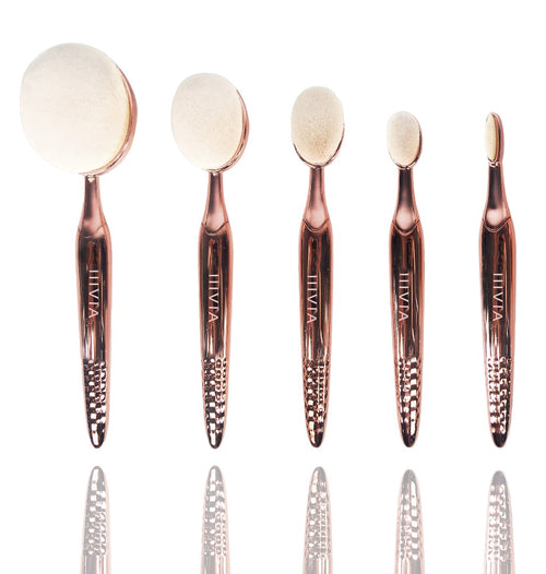 5 piece rose gold and white makeup brush set