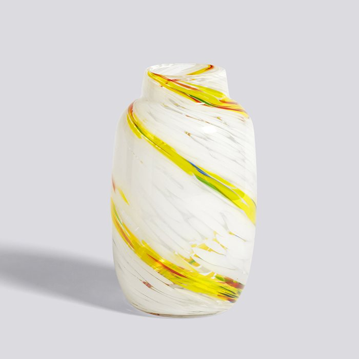 HAY SPLASH VASE / ROUND M  - Lemon Swirl