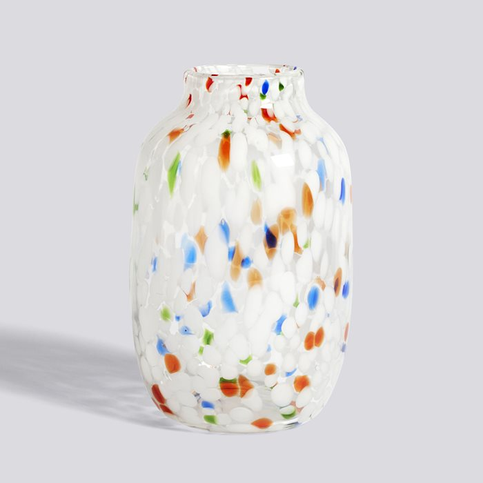 HAY SPLASH VASE / ROUND L   - White Dot