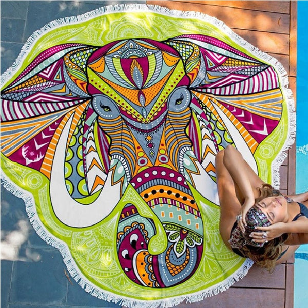 Elephant mandala beach yoga blanket