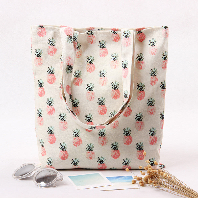 Pineapple Fruit Print Beach Tote Handbags