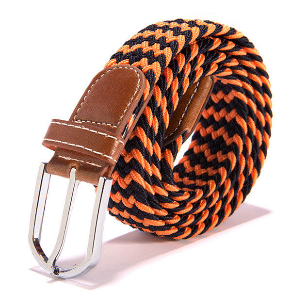 Canvas Leather Pin Buckle Elastic Belt