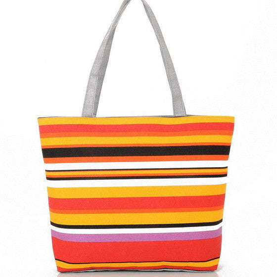 Striped Rainbow Prints Beach Bags