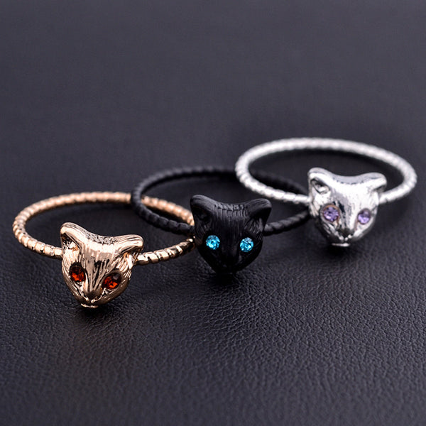 New Gold Silver Color Cute Cat Rings