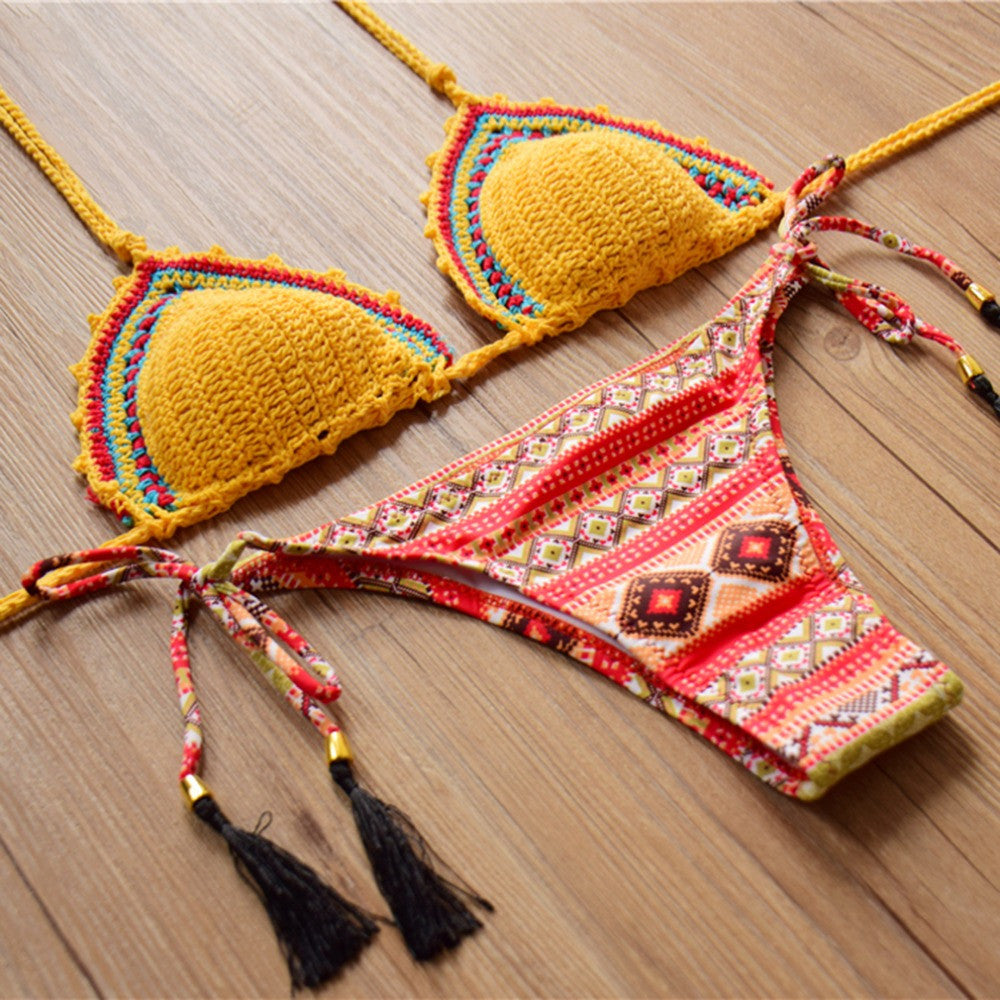 Tropical Crochet Knitted two pieces Bikini