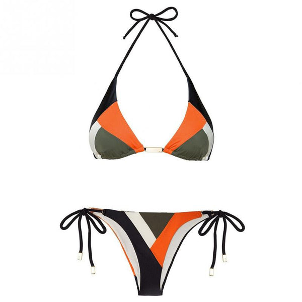 Print retro bikini suit two pieces