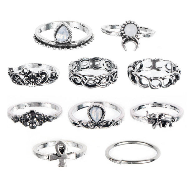 10 Rings Set - Vintage Moon Flower Elephant Rings