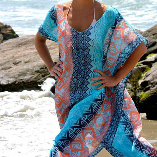 Summer New Beach Dresses -  Short Sleeve, Loose Dress.