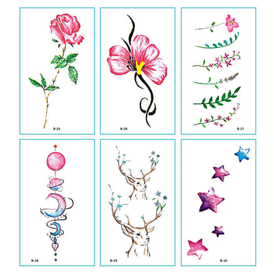TTDeye Spring Blossoms 30 Piece Tattoo Stickers